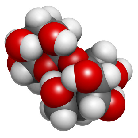 sucrose: Sugar (sucrose, saccharose) molecule, chemical structure. Atoms are represented as spheres with conventional color coding: hydrogen (white), carbon (grey), oxygen (red)