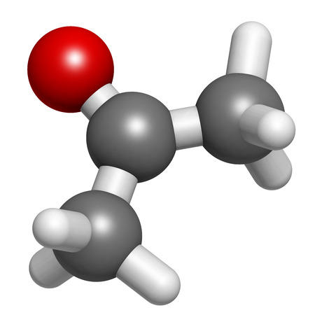molecular model: Acetone solvent molecule, molecular model. Atoms are represented as spheres with conventional color coding: hydrogen (white), carbon (grey), oxygen (red)
