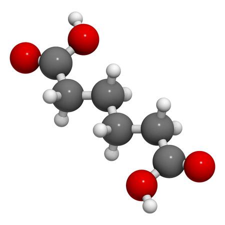 アジピン酸、ナイロン (ポリアミド) ビルディング ブロック。原子は従来の色コーディングの球として表される: 水素 (白)、炭素 (グレー)、