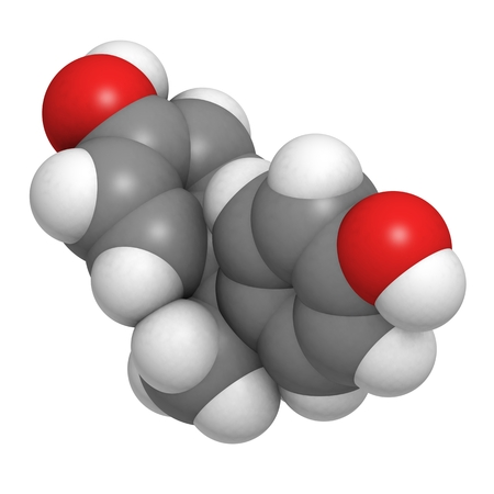 polycarbonate: A molecule of bisphenol A, a chemical often present in polycarbonate plastics that has estrogen disrupting effects.