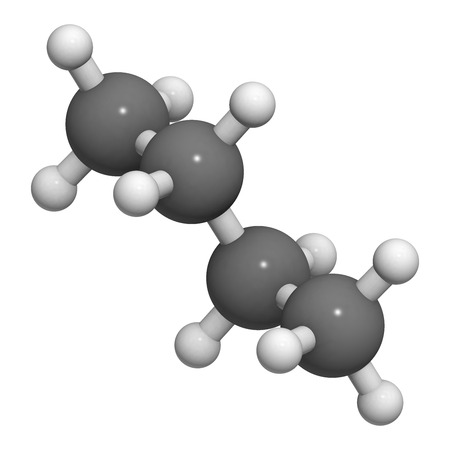 sudden death: Butane, molecular model. Atoms are represented as spheres with conventional color coding: hydrogen (white), carbon (grey)