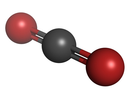 greenhouse gas: Carbon dioxide (CO2) greenhouse gas molecule, chemical structure. Atoms are represented as spheres with conventional color coding: carbon (grey), oxygen (red) Stock Photo