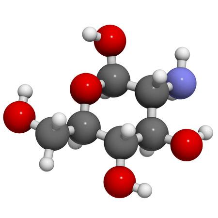 Glucosamin Nahrungsergänzungsmittel Molekül. Atome sind als Kugeln mit herkömmlichen Farbcodierung repräsentiert: Wasserstoff (weiß), Kohlenstoff (grau), Sauerstoff (rot), Stickstoff (blau). Standard-Bild - 36966330