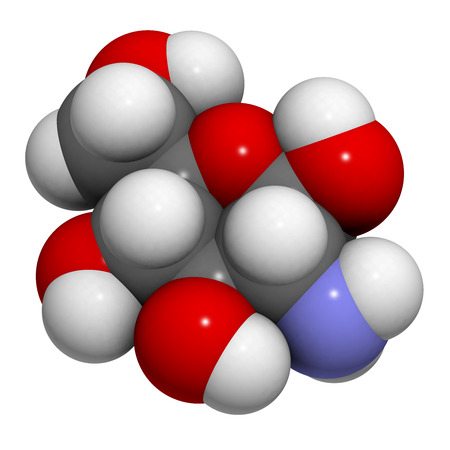 sulfate: Glucosamine food supplement molecule. Atoms are represented as spheres with conventional color coding: hydrogen (white), carbon (grey), oxygen (red), nitrogen (blue).