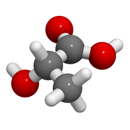 Lactic acid (milk acid, L-lactic acid) molecule, chemical structure. Lactic acid is a chiral molecule and thus has two optical isomers.