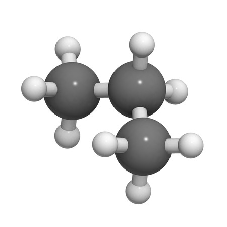 volatile: Propane fuel molecule, molecular model. Atoms are represented as spheres with conventional color coding: hydrogen (white), carbon (grey) Stock Photo