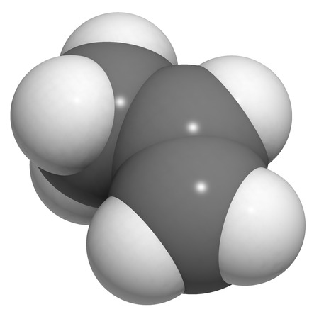 pp: Propylene (propene), polypropylene (PP, polypropene) plastic building block. Atoms are represented as spheres with conventional color coding: hydrogen (white), carbon (grey).