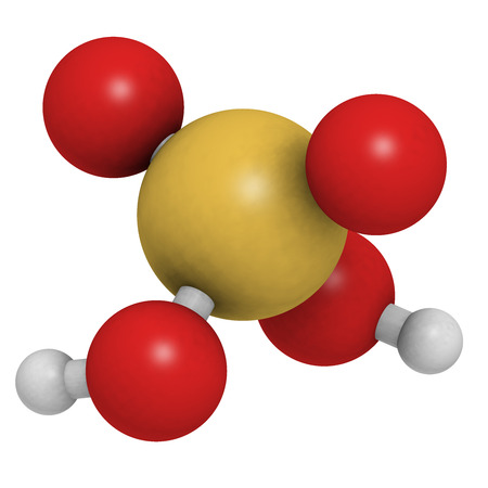 chemical structure: Sulfuric acid (H2SO4, oil of vitriol) molecule, chemical structure. H2SO4 is a highly corrosive strong mineral acid. It is used as an electrolyte in lead-acid car batteries.