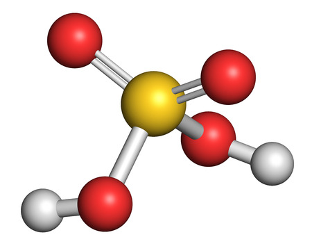 Sulfur acid molecule. Strong mineral acid. Used as electrolyte in lead-acid car batteries and in production of fertilizer. Atoms are represented as spheres with conventional color coding: sulfur (yellow), oxygen (red), hydrogen (white).