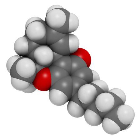 cannabinoid: THC (delta-9-tetrahydrocannabinol, dronabinol) cannabis drug molecule. Atoms are represented as spheres with conventional color coding: hydrogen (white), carbon (grey), oxygen (red).
