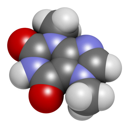 nucleotide: Theobromine (xantheose) chocolate alkaloid molecule. Present in cacao, tea, etc. Also used as drug. Atoms are represented as spheres with conventional color coding: hydrogen (white), carbon (grey), nitrogen (blue), oxygen (red).