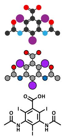 ascaris: Diatrizoic acid (diatrizoate, amidotrizoate) contrast agent molecule. Stylized 2D renderings and conventional skeletal formula.
