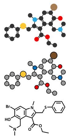 Arbidol influenza drug molecule. Stylized 2D renderings and conventional skeletal formula.