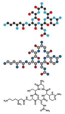 mycobacterium: Capreomycin antibiotic drug molecule. Stylized 2D renderings and conventional skeletal formula.