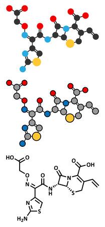 antibiotic: Cefixime antibiotic drug molecule (cephalosporin, third generation). Stylized 2D renderings and conventional skeletal formula.