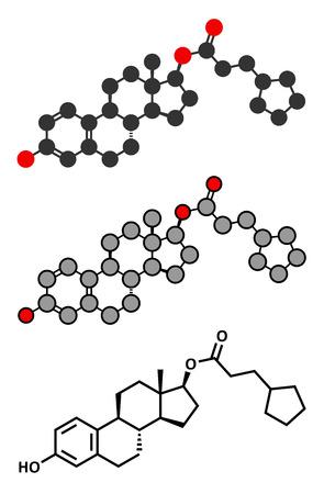 Estradiolo cypionate estrogeni pro-ormone molecola. Lunga durata d'azione, intramuscolare profarmaco iniettabile di estradiolo. Rendering 2D stilizzati e formula scheletrico convenzionale. Archivio Fotografico - 37623927