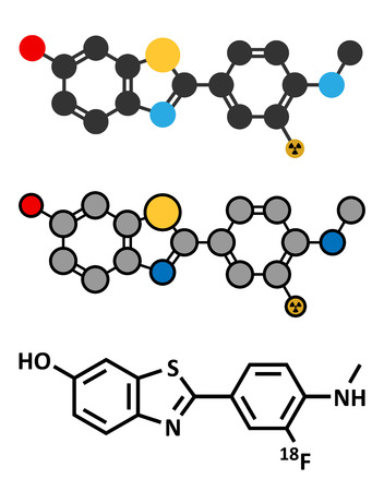 positron: Flutemetamol (18F) PET tracer molecule. Used to diagnose Alzheimers disease. Stylized 2D renderings and conventional skeletal formula.