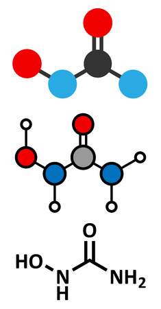 o2: Hydroxycarbamide cancer drug molecule. Stylized 2D renderings and conventional skeletal formula.