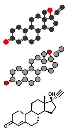 Norethisterone (norethindrone) progestogen hormone drug. Used in contraceptive pills and for a number of other indications. Stylized 2D renderings and conventional skeletal formula. Vector