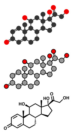 Prednisolone corticosteroid drug molecule. Stylized 2D renderings and conventional skeletal formula.