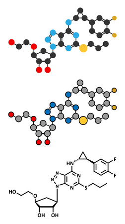 fluorine: Ticagrelor platelet inhibitor drug. Used to prevent thrombosis. Stylized 2D renderings and conventional skeletal formula. Illustration