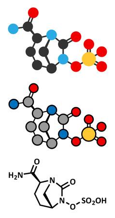 antibiotics: Avibactam drug molecule. Beta-lactamase inhibitor given in combination with antibiotics. Stylized 2D renderings and conventional skeletal formula.