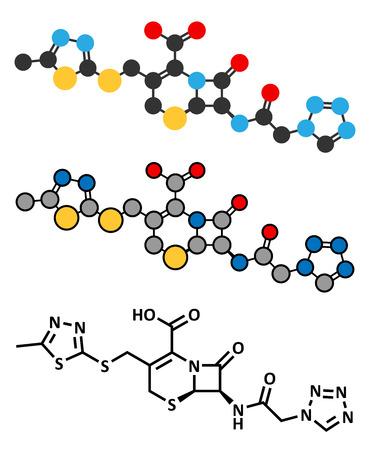 antibiotic: Cefazolin antibiotic drug molecule (cephalosporin, first generation). Stylized 2D renderings and conventional skeletal formula.