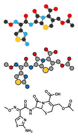 antibiotic: Cefotaxime antibiotic drug molecule (cephalosporin, third generation). Stylized 2D renderings and conventional skeletal formula.