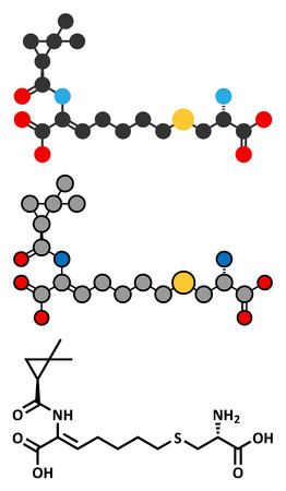pharma: Cilastatin molecule. Dehydropeptidase inhibitor that blocks breakdown of the antibiotic imipenem. Stylized 2D renderings and conventional skeletal formula. Illustration