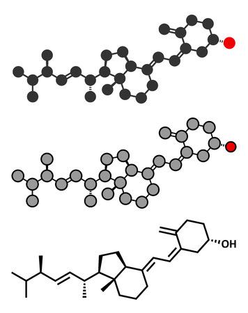 deficiency: Ergocalciferol (vitamin D2) molecule. Stylized 2D renderings and conventional skeletal formula.