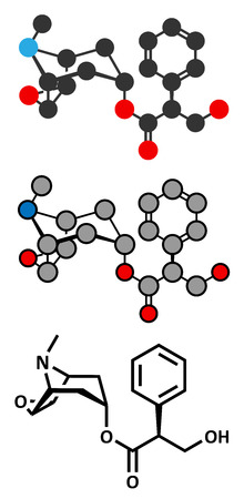 sickness: La escopolamina (hioscina) mol�cula del f�rmaco anticolin�rgico. Se utiliza en el tratamiento de las n�useas, v�mitos y mareos. Renderizados en 2D y estilizada f�rmula esquel�tico convencional.