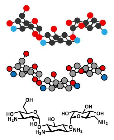 escherichia coli: Kanamycin antibiotic drug molecule (aminoglycoside). Stylized 2D renderings and conventional skeletal formula.