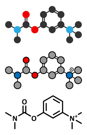acetylcholinesterase: Neostigmine drug molecule. Stylized 2D renderings and conventional skeletal formula.