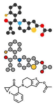 Prasugrel platelet inhibitor drug molecule. Used in treatment of acute coronary syndrome and in the prevention of stent thrombosis. Stylized 2D renderings and conventional skeletal formula. Illustration