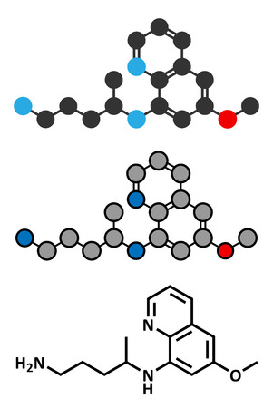 plasmodium: Primaquine malaria drug molecule. Stylized 2D renderings and conventional skeletal formula. Illustration