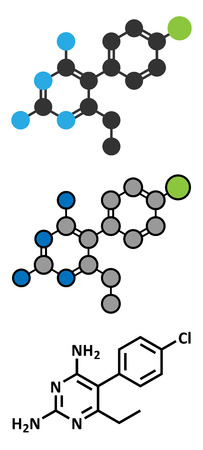 malaria: Pyrimethamine malaria drug molecule. Also used as an antiprotozoal drug. Stylized 2D renderings and conventional skeletal formula.