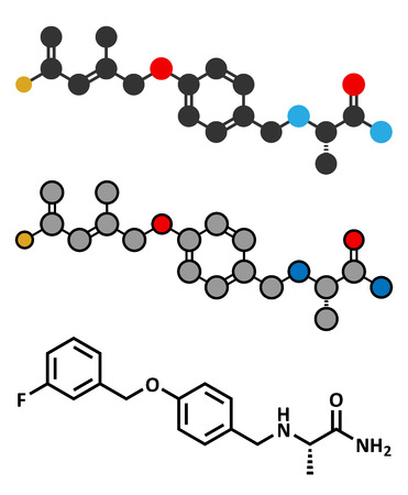 oxidase: Safinamide Parkinsons disease drug molecule. Stylized 2D renderings and conventional skeletal formula.