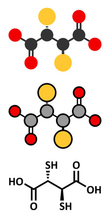 antidote: Succimer (dimercaptosuccinic acid, DMSA) lead poisoning drug molecule. Antidote used in heavy metal poisoning; acts by forming chelates with metals. Stylized 2D renderings and conventional skeletal formula.