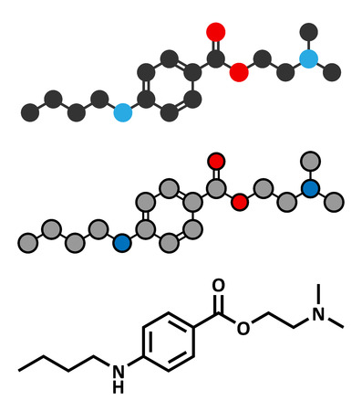 anesthetic: Tetracaine local anesthetic drug molecule. Stylized 2D renderings and conventional skeletal formula. Illustration