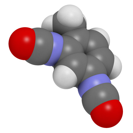 carcinogen: Toluene diisocyanate (TDI, 2,4-TDI) polyurethane building block molecule. May be a carcinogen. Atoms are represented as spheres with conventional color coding: hydrogen (white), carbon (grey), oxygen (red), nitrogen (blue).