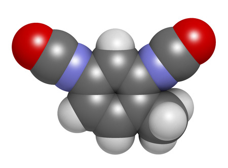 polyurethane: Toluene diisocyanate (TDI, 2,4-TDI) polyurethane building block molecule. May be a carcinogen. Atoms are represented as spheres with conventional color coding: hydrogen (white), carbon (grey), oxygen (red), nitrogen (blue).