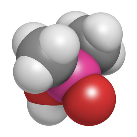 Cacodylic acid herbicide molecule (Agent Blue). Highly toxic organoarsenic compound. Atoms are represented as spheres with conventional color coding: hydrogen (white), carbon (grey), oxygen (red), arsenic (pink).