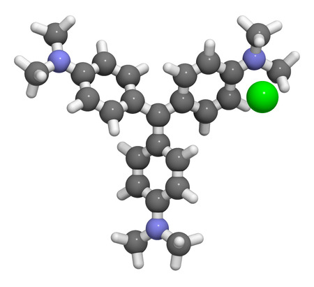 methyl: Crystal (gentian) violet molecule. Dye used in Gram staining of bacteria. Atoms are represented as spheres with conventional color coding: hydrogen (white), carbon (grey), nitrogen (blue), chlorine (green). Stock Photo