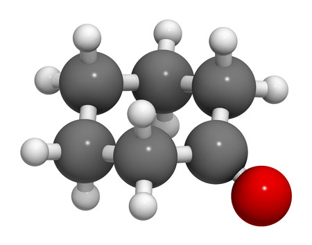 precursor: Cyclohexanone organic solvent molecule. Precursor of nylon Atoms are represented as spheres with conventional color coding: hydrogen (white), carbon (grey), oxygen (red).