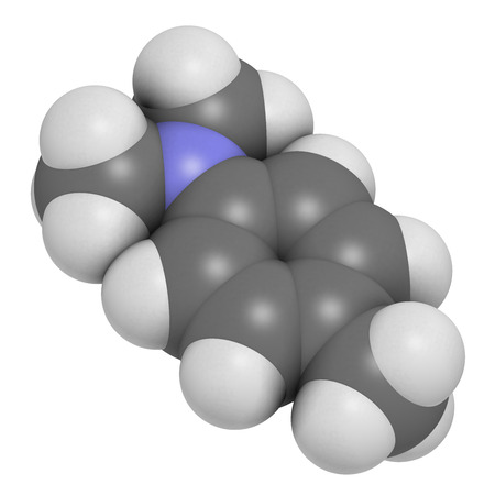 nit: N,N-dimethyl-p-toluidine (DMPT) molecule. Commonly used as catalyst in the production of polymers and in dental materials and bone cements. Atoms are represented as spheres with conventional color coding: hydrogen (white), carbon (grey), oxygen (red), nit Stock Photo