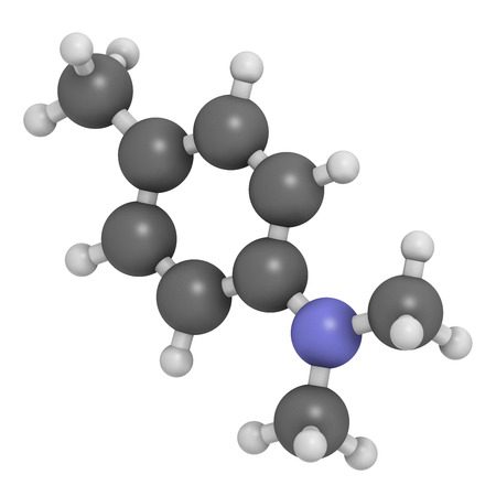 aseptic: N,N-dimethyl-p-toluidine (DMPT) molecule. Commonly used as catalyst in the production of polymers and in dental materials and bone cements. Atoms are represented as spheres with conventional color coding: hydrogen (white), carbon (grey), oxygen (red), nit Stock Photo