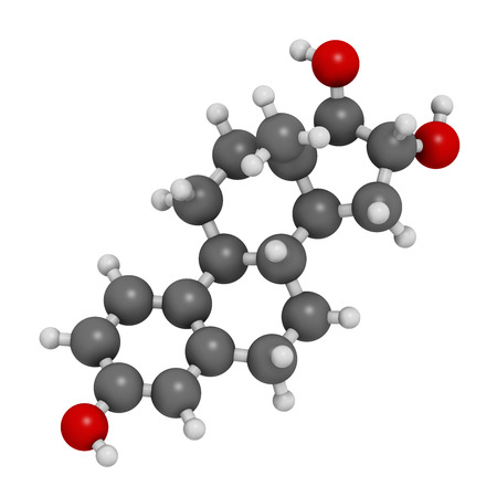 estrogen: Estriol (oestriol) human estrogen hormone molecule. Atoms are represented as spheres with conventional color coding: hydrogen (white), carbon (grey), oxygen (red).