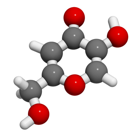 Kojic acid molecule. Used as food additive and for skin depigmentation in cosmetics. Atoms are represented as spheres with conventional color coding: hydrogen (white), carbon (grey), oxygen (red). Stock Photo