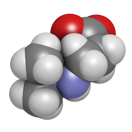 infarction: Meldonium anti-ischemic drug molecule. Used in treatment of angina and myocardial infarction. Atoms are represented as spheres with conventional color coding: hydrogen (white), carbon (grey), oxygen (red), nitrogen (blue). Stock Photo