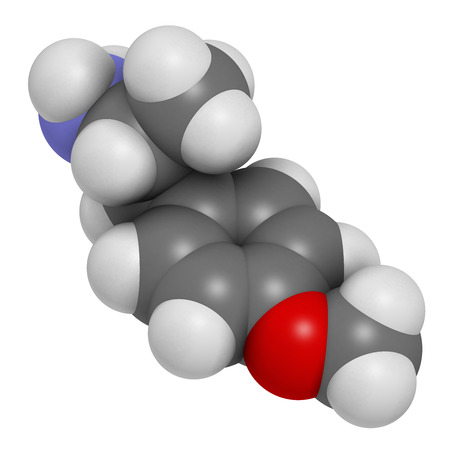 ecstasy: p-methoxyamphetamine (PMA) hallucinogenic drug molecule. Frequently leads to lethal poisoning when mistaken for MDMA (XTC, ecstasy). Atoms are represented as spheres with conventional color coding: hydrogen (white), carbon (grey), oxygen (red), nitrogen (